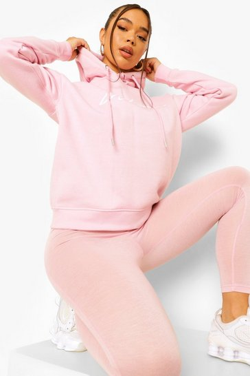 Dusky pink pink Woman Hoodie And Legging Tracksuit