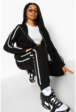 Black Side Stripe Zip Through Tracksuit