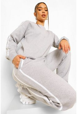 Grey marl grey Side Stripe Sweater Tracksuit