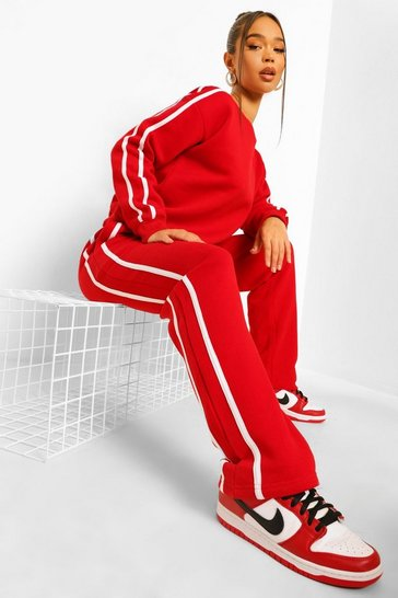 Red Side Stripe Sweater Tracksuit
