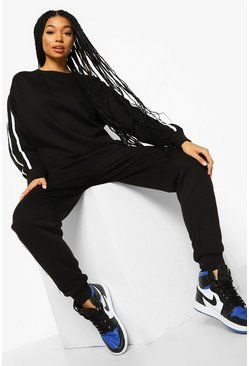 Side Stripe Sweater Tracksuit, Black schwarz