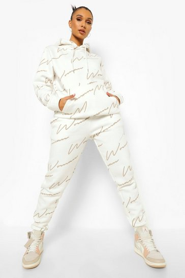 Ecru white Woman All Over Print Tracksuit
