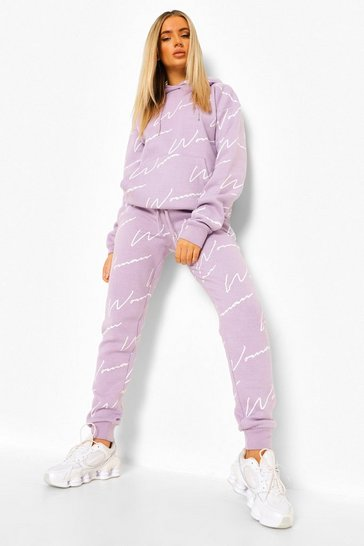 Lilac purple Woman All Over Print Tracksuit