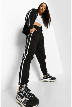 Side Stripe Zip Through Tracksuit , Black schwarz