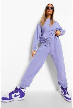 Lilac purple Acid Wash Oversized Sweater Tracksuit