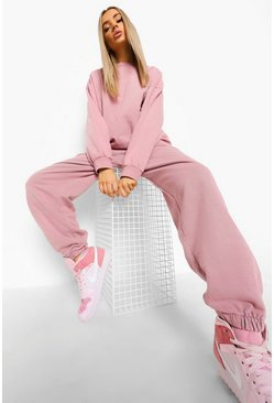 Pink Acid Wash Oversized Sweater Tracksuit