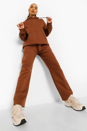 Chocolate brown Straight Leg Hoodie Tracksuit