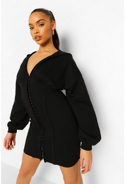 Black Corset Hoodie Dress