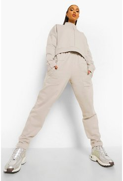 Light grey grey Exposed Seam High Neck Sweater Tracksuit