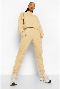 Stone beige Exposed Seam High Neck Sweater Tracksuit