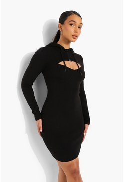 Black Cut Out Half Zip Hoodie Dress