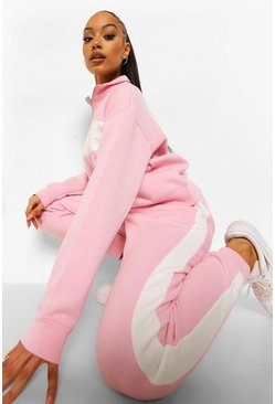 Pink Strak Colour Block Trainingspak Met Korte Rits