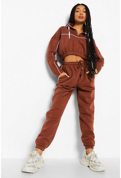 Chocolate brown Piping Detail Funnel Neck Tracksuit