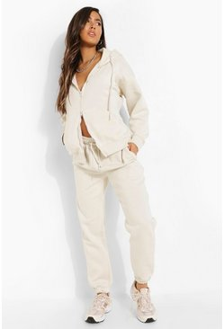 Stone beige Double Zip Through Hoodie Tracksuit