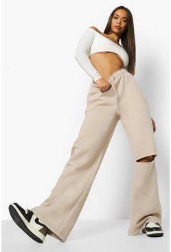 Sand beige Split Knee Wide Leg Jogger