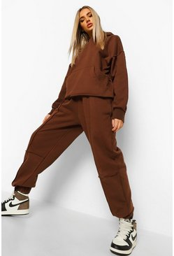 Chocolate brown Exposed Seam Oversized Hoodie Tracksuit