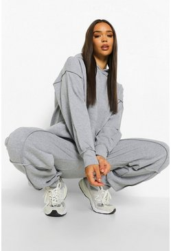 Grey marl grey Exposed Seam Oversized Hoodie Tracksuit