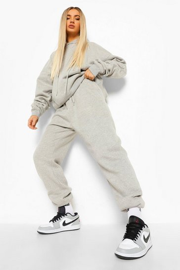 Grey marl grey Ruched Sleeve Oversized Tracksuit