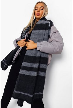 Black Oversized Block Stripe Brushed Scarf
