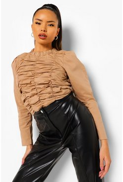 Camel beige Woven Ruched Long Sleeve Top
