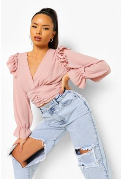 Blush pink Ruffle And Ruched Long Sleeve Top