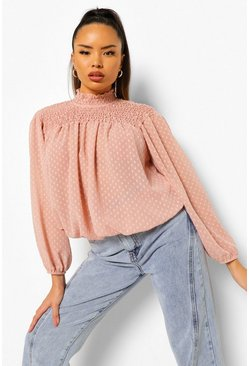Blush pink Dobby Shirred High Neck Blouse