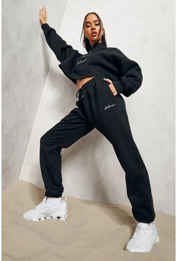 Woman Signature Half Zip Cropped Tracksuit , Black schwarz