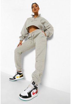 Grey marl grey Woman Signature Half Zip Cropped Tracksuit