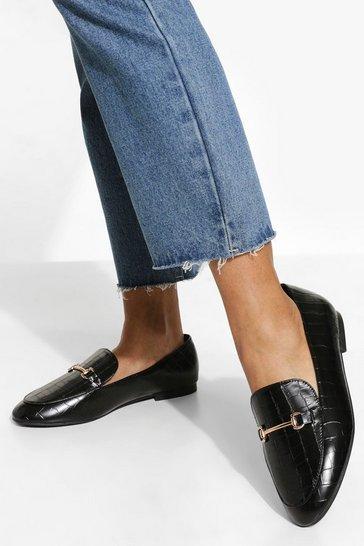Black Wide Fit Croc T Bar Loafers
