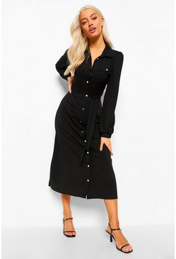 Black Belted Maxi Shirt Dress