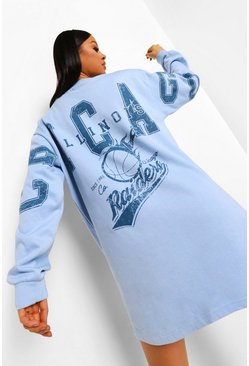 Baby blue blue Chicago Back Print Sweater Dress