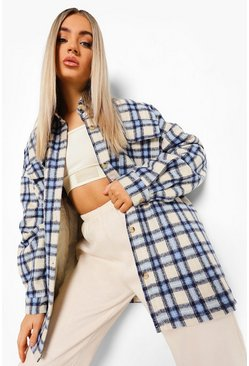 Blue Oversized Check Shacket