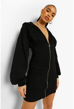 Black Corset Balloon Sleeve Hoodie Dress