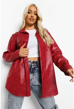 Burgundy red Oversized Faux Leather Shacket