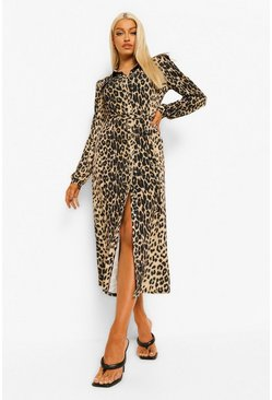 Brown Leopard Belted Maxi Shirt Dress