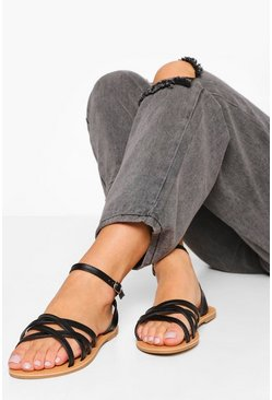 Black Wide Fit Multi Strap Basic Sandal