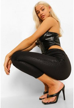 Black Croc Leather Look Matte Pu Leggings