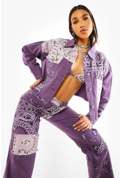 Purple Cropped Denim Jacket With Bandana Patchwork