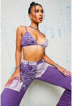 Purple Denim Bandana Print Bralet Top