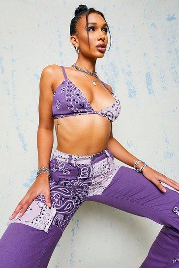 Purple Denim Bandana Print Bralet Top