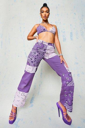 Purple Patchwork Boyfriend Jeans With Bandana Print