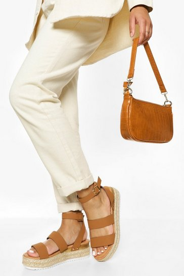 Tan brown Double Strap Flatform Sandal