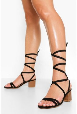 Black Strappy Block Heel Sandal