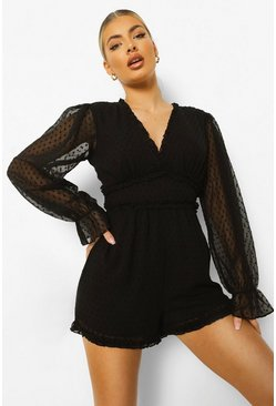 Black Long Sleeve Cut Out Back Dobby Mesh Playsuit