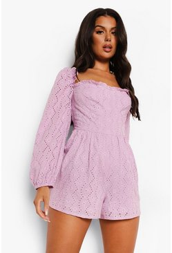 Lilac purple Long Balloon Sleeve Broderie Playsuit