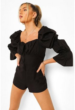 Elasticated Puff Sleeve Cotton Playsuit, Black negro