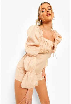 Stone beige Elasticated Puff Sleeve Cotton Playsuit