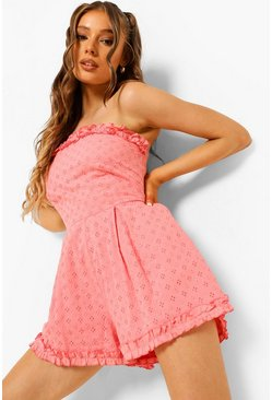 Coral pink Strapless Frill Edge Broderie Playsuit
