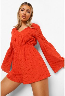 Long Sleeve V Neck Smock Broderie Playsuit, Orange naranja