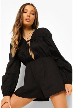 Black svart Tie Front 3/4 Sleeve Smock Cotton Playsuit